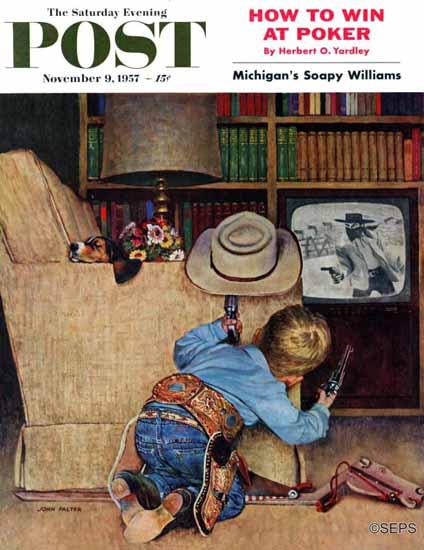 John Falter Saturday Evening Post Good Guys White Hats 1957_11_09 | The Saturday Evening Post Graphic Art Covers 1931-1969