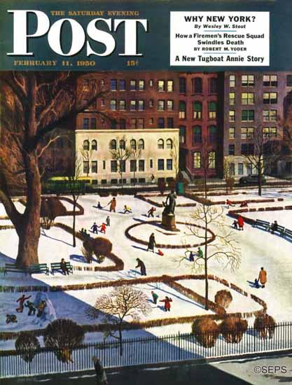 John Falter Saturday Evening Post Gramercy Park 1950_02_11   The Saturday Evening Post Graphic Art Covers 1931-1969
