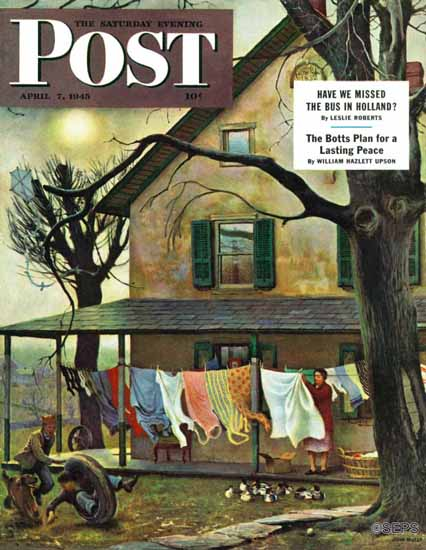 John Falter Saturday Evening Post Hanging Clothes Out to Dry 1945_04_07 | The Saturday Evening Post Graphic Art Covers 1931-1969
