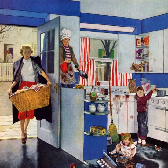 John Falter Saturday Evening Post Helpers 1953_04_18 Copyright crop | Best of Vintage Cover Art 1900-1970
