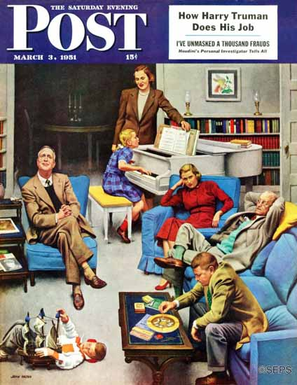 John Falter Saturday Evening Post Home Recital 1951_03_03 | The Saturday Evening Post Graphic Art Covers 1931-1969