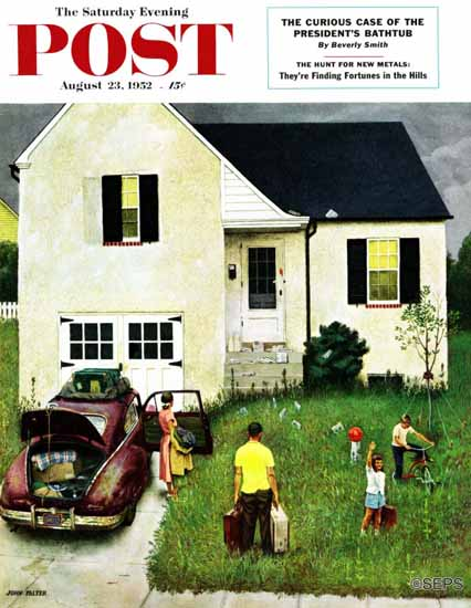 John Falter Saturday Evening Post Home from Vacation 1952_08_23 | The Saturday Evening Post Graphic Art Covers 1931-1969