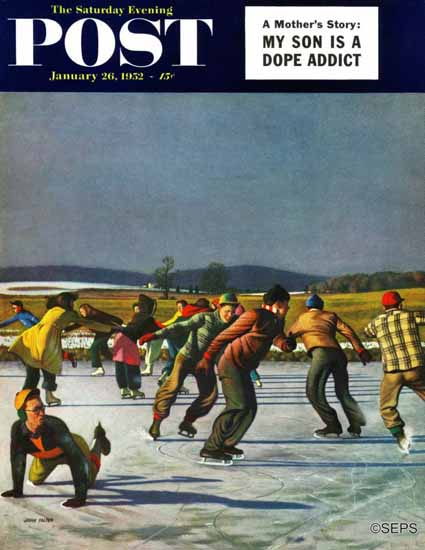 John Falter Saturday Evening Post Ice Skating on Pond 1952_01_26 | The Saturday Evening Post Graphic Art Covers 1931-1969