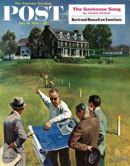 John Falter Saturday Evening Post Imminent Domain 1959_07_18 | The Saturday Evening Post Graphic Art Covers 1931-1969