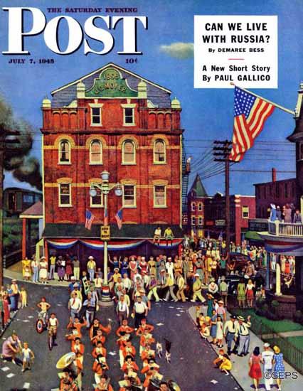 John Falter Saturday Evening Post Independence Parade 1945_07_07 | The Saturday Evening Post Graphic Art Covers 1931-1969