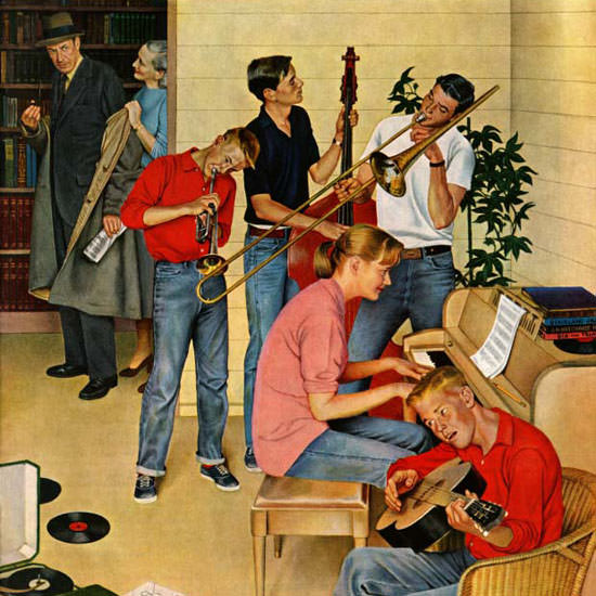 John Falter Saturday Evening Post Jam Session 1954_10_23 Copyright crop | Best of Vintage Cover Art 1900-1970