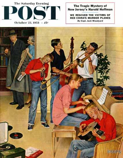 John Falter Saturday Evening Post Jam Session 1954_10_23 | The Saturday Evening Post Graphic Art Covers 1931-1969