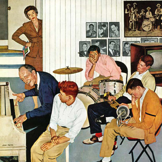 John Falter Saturday Evening Post Jamming 1956_12_01 Copyright crop | Best of Vintage Cover Art 1900-1970