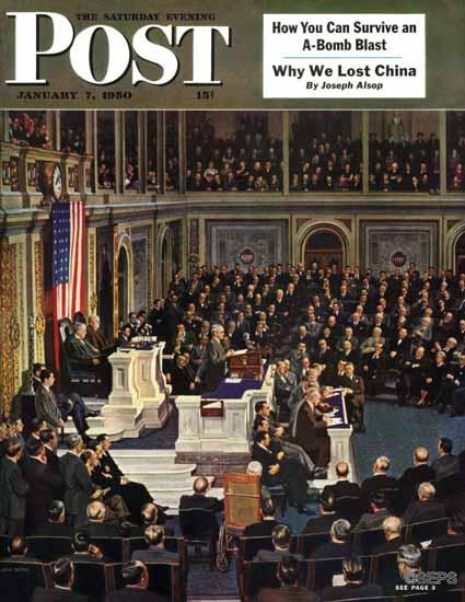 John Falter Saturday Evening Post Joint Session of Congress 1950_01_07   The Saturday Evening Post Graphic Art Covers 1931-1969