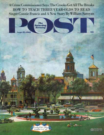 John Falter Saturday Evening Post Kansas City 1961_09_23 | The Saturday Evening Post Graphic Art Covers 1931-1969