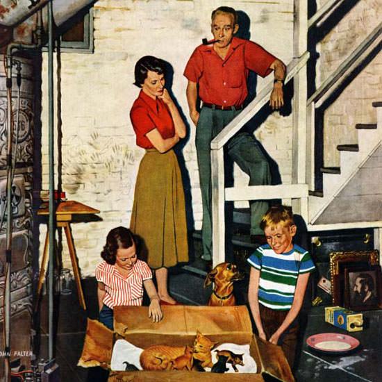 John Falter Saturday Evening Post Kittens 1955_01_08 Copyright crop | Best of Vintage Cover Art 1900-1970