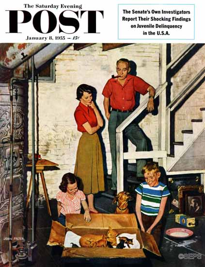 John Falter Saturday Evening Post Kittens in the Basement 1955_01_08 | The Saturday Evening Post Graphic Art Covers 1931-1969