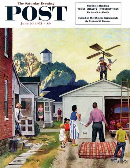 John Falter Saturday Evening Post Learning to Fly 1953_06_20 | The Saturday Evening Post Graphic Art Covers 1931-1969