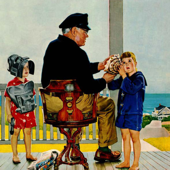 John Falter Saturday Evening Post Listening 1956_07_21 Copyright crop | Best of Vintage Cover Art 1900-1970