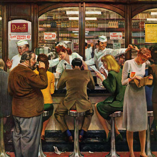 John Falter Saturday Evening Post Lunch 1946_10_12 Copyright crop | Best of Vintage Cover Art 1900-1970