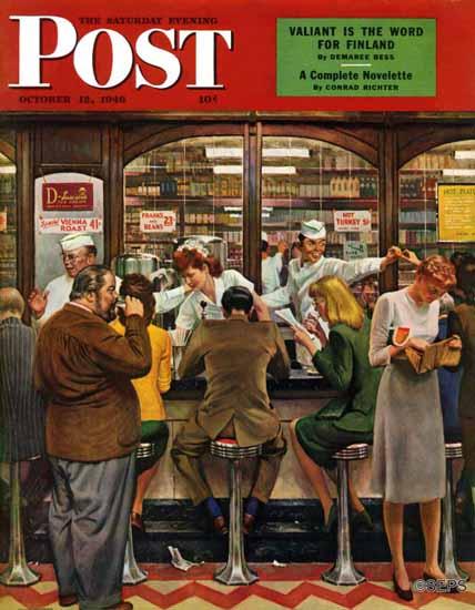 John Falter Saturday Evening Post Lunch Counter 1946_10_12 | The Saturday Evening Post Graphic Art Covers 1931-1969