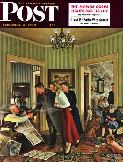 John Falter Saturday Evening Post Meeting the Date 1949_02_05 | The Saturday Evening Post Graphic Art Covers 1931-1969