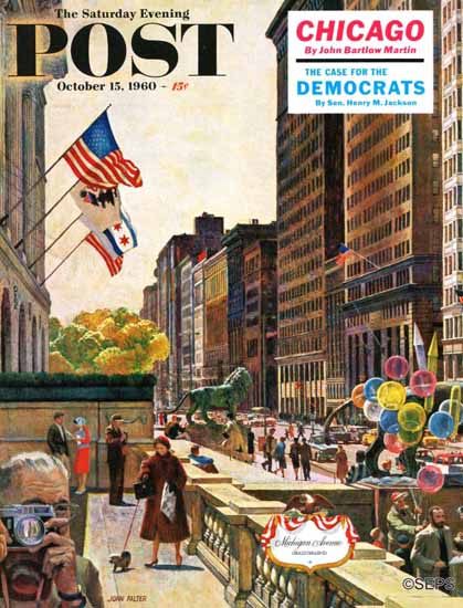 John Falter Saturday Evening Post Michigan Avenue Chicago 1960_10_15 | The Saturday Evening Post Graphic Art Covers 1931-1969