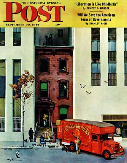 John Falter Saturday Evening Post Moving Day 1944_09_30 | The Saturday Evening Post Graphic Art Covers 1931-1969