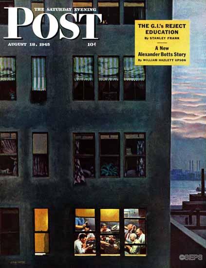 John Falter Saturday Evening Post Office Poker Party 1945_08_18   The Saturday Evening Post Graphic Art Covers 1931-1969