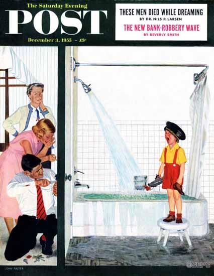 John Falter Saturday Evening Post Overflowing Tub 1955_12_03 | The Saturday Evening Post Graphic Art Covers 1931-1969