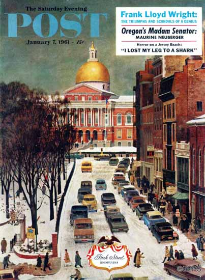 John Falter Saturday Evening Post Park Street Boston 1961_01_07 | The Saturday Evening Post Graphic Art Covers 1931-1969