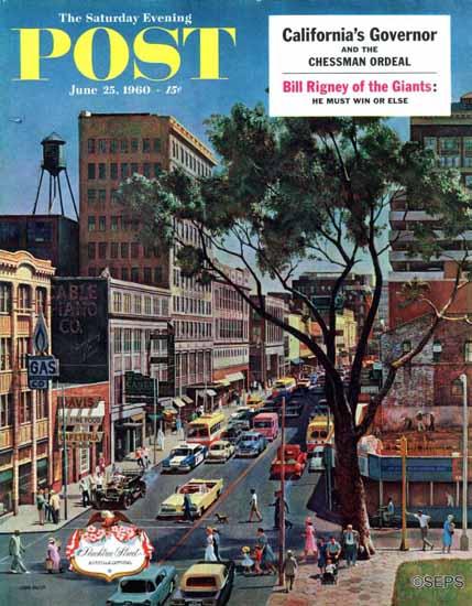 John Falter Saturday Evening Post Peachtree Street 1960_06_25 | The Saturday Evening Post Graphic Art Covers 1931-1969