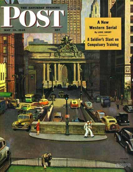 John Falter Saturday Evening Post Pershing Square 1945_05_19   The Saturday Evening Post Graphic Art Covers 1931-1969