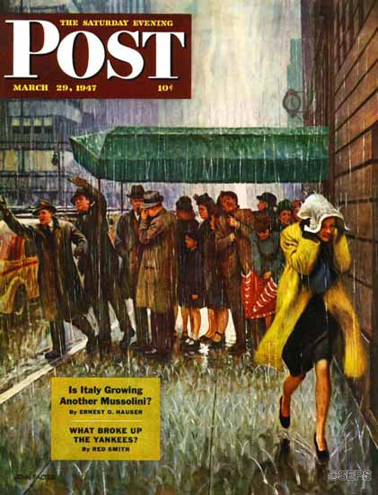 John Falter Saturday Evening Post Rainy Wait for a Cab 1947_03_29   The Saturday Evening Post Graphic Art Covers 1931-1969