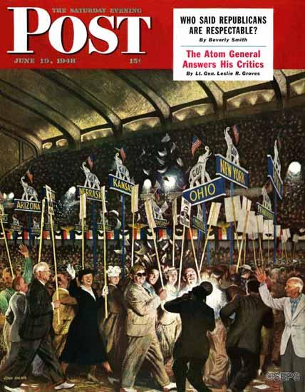 John Falter Saturday Evening Post Republican Convention 1948_06_19 | The Saturday Evening Post Graphic Art Covers 1931-1969