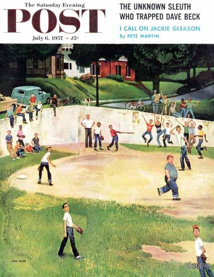 John Falter Saturday Evening Post Sandlot Homerun 1957_07_06 | The Saturday Evening Post Graphic Art Covers 1931-1969
