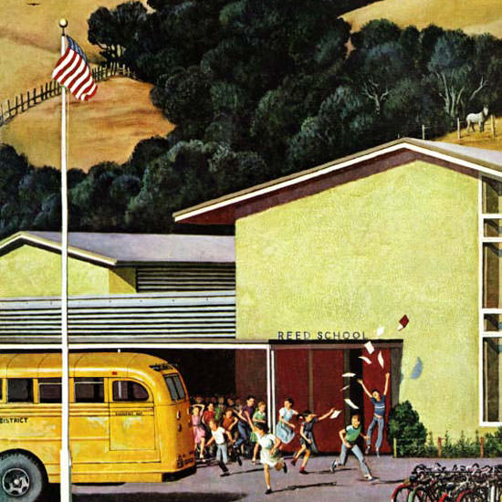 John Falter Saturday Evening Post School Out 1958_06_21 Copyright crop | Best of Vintage Cover Art 1900-1970
