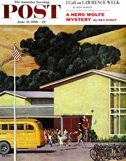 John Falter Saturday Evening Post School is Out 1958_06_21 | The Saturday Evening Post Graphic Art Covers 1931-1969