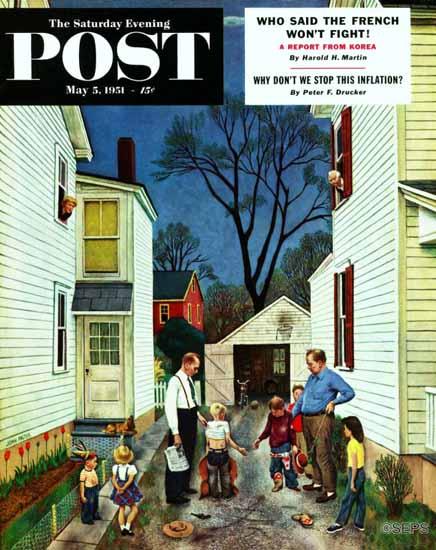 John Falter Saturday Evening Post Shaking Hands after Fight 1951_05_05 | The Saturday Evening Post Graphic Art Covers 1931-1969