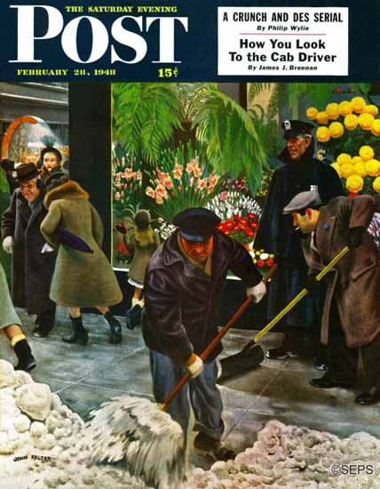John Falter Saturday Evening Post Shoveling Sidewalk 1948_02_28 | The Saturday Evening Post Graphic Art Covers 1931-1969