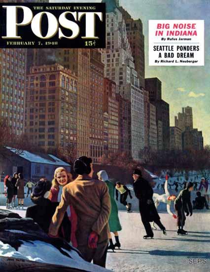 John Falter Saturday Evening Post Skaters in Central Park 1948_02_07 | The Saturday Evening Post Graphic Art Covers 1931-1969
