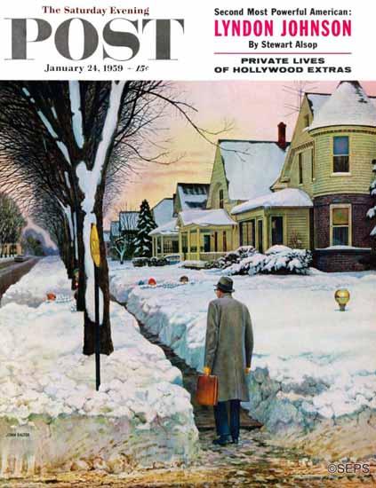 John Falter Saturday Evening Post Snowy Ambush 1959_01_24 | The Saturday Evening Post Graphic Art Covers 1931-1969