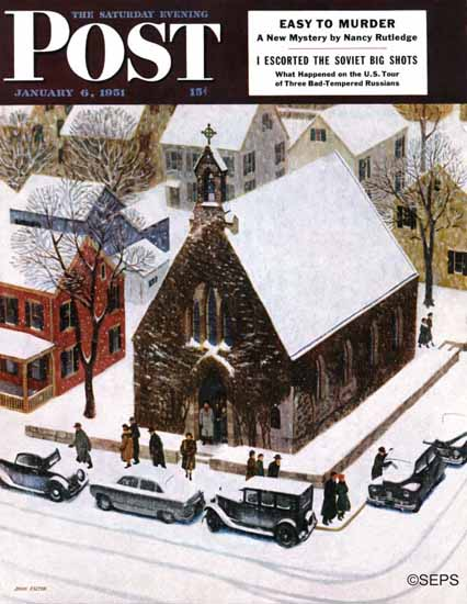 John Falter Saturday Evening Post Snowy Morning at Church 1951_01_06 | The Saturday Evening Post Graphic Art Covers 1931-1969