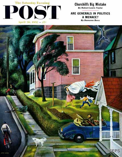 John Falter Saturday Evening Post Spring Storm Blowing In 1952_04_26 | The Saturday Evening Post Graphic Art Covers 1931-1969