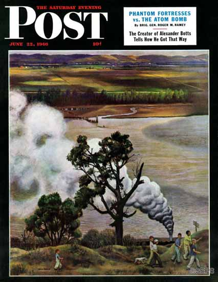 John Falter Saturday Evening Post Steam Engine Missouri 1946_06_22 | The Saturday Evening Post Graphic Art Covers 1931-1969