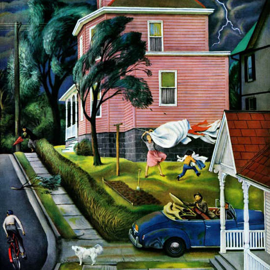 John Falter Saturday Evening Post Storm 1952_04_26 Copyright crop | Best of Vintage Cover Art 1900-1970
