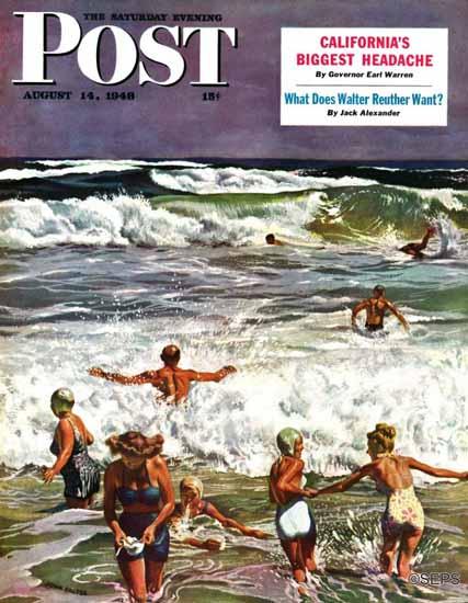 John Falter Saturday Evening Post Surf Swimming 1948_08_14   The Saturday Evening Post Graphic Art Covers 1931-1969
