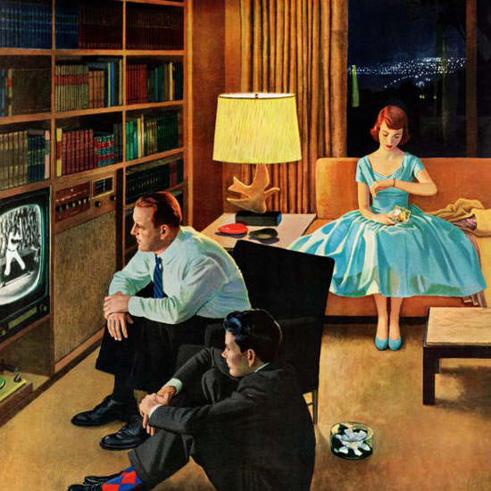 John Falter Saturday Evening Post Television 1956_04_21 Copyright crop | Best of Vintage Cover Art 1900-1970
