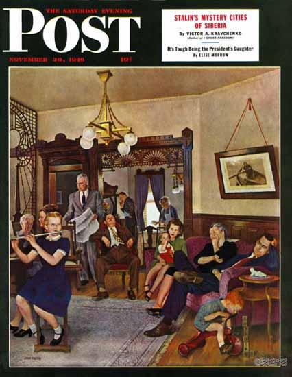 John Falter Saturday Evening Post Thanksgiving Flute Perform 1946_11_30   The Saturday Evening Post Graphic Art Covers 1931-1969