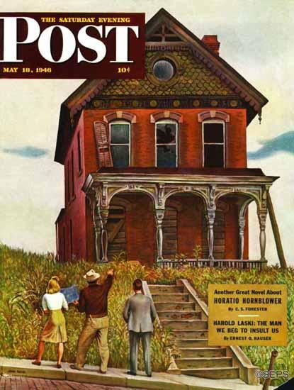 John Falter Saturday Evening Post This Old House 1946_05_18 | The Saturday Evening Post Graphic Art Covers 1931-1969