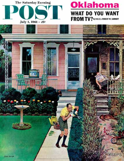John Falter Saturday Evening Post Tidy and Sloppy Neighbors 1961_07_01 | The Saturday Evening Post Graphic Art Covers 1931-1969