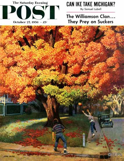 John Falter Saturday Evening Post Tossing the Football 1956_10_27 | The Saturday Evening Post Graphic Art Covers 1931-1969