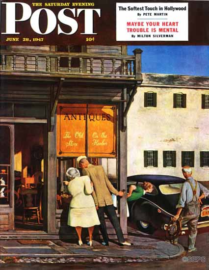 John Falter Saturday Evening Post Track 11 1947_06_28 | The Saturday Evening Post Graphic Art Covers 1931-1969
