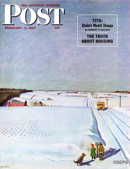 John Falter Saturday Evening Post Waiting School Bus Snow 1947_02_01 | The Saturday Evening Post Graphic Art Covers 1931-1969