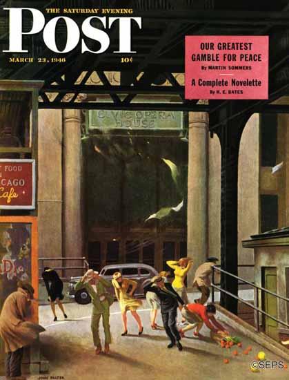 John Falter Saturday Evening Post Windy City 1946_03_23   The Saturday Evening Post Graphic Art Covers 1931-1969